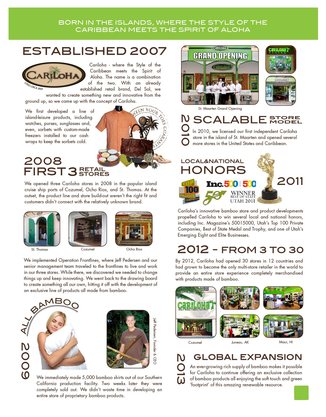 Cariloha History Timeline  2007 - Present