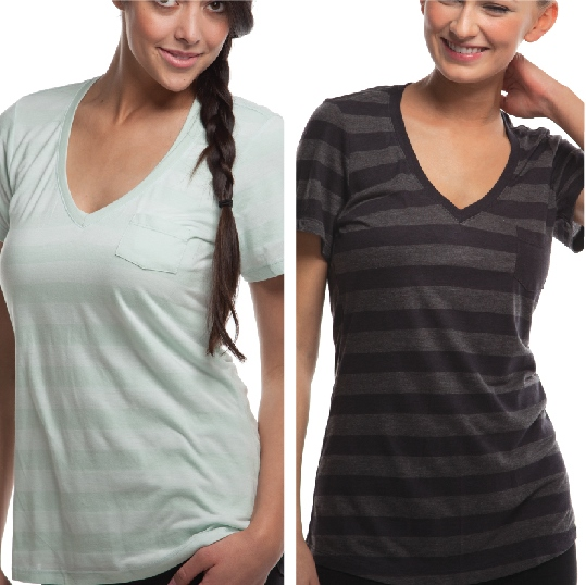 Cariloha Bamboo Style Womens Heathered V-Neck Stripe