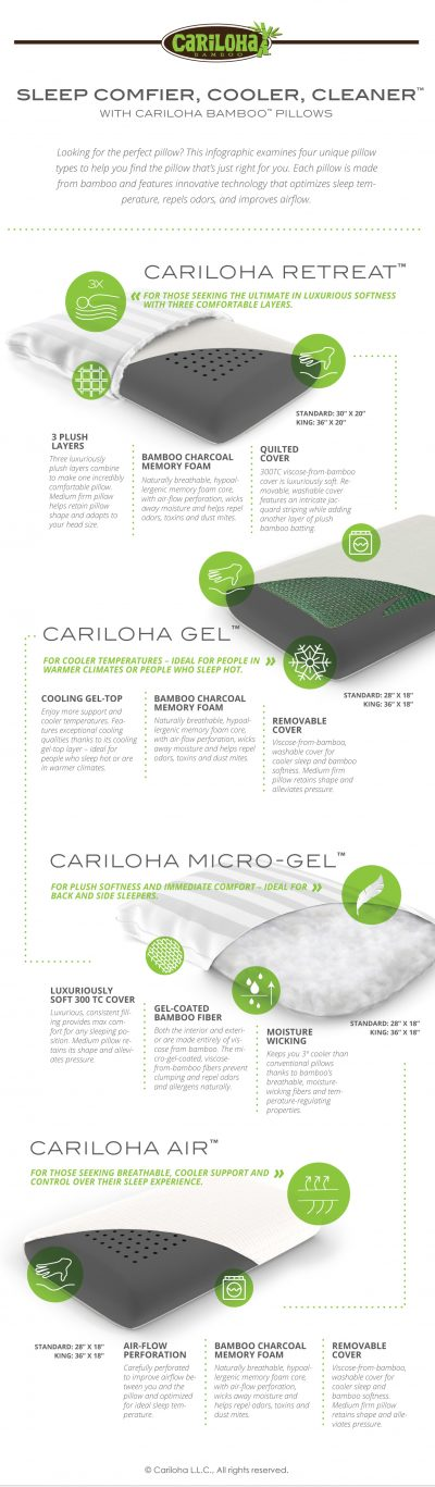 Sleep Comfier, Cooler, Cleaner with Cariloha Bamboo Pillows